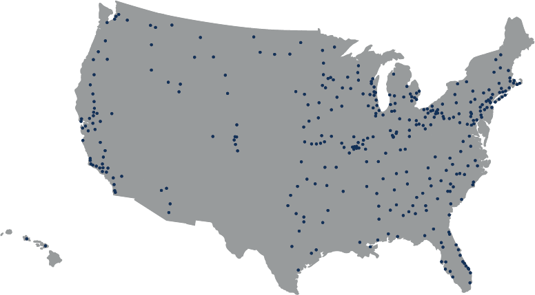 Dark Gray map of the United States with navy blue dots indicating the more than 400 branches of Stifel